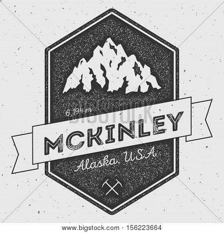 Mckinley In Alaska, Usa Outdoor Adventure Logo. Pennant Expedition Vector Insignia. Climbing, Trekki