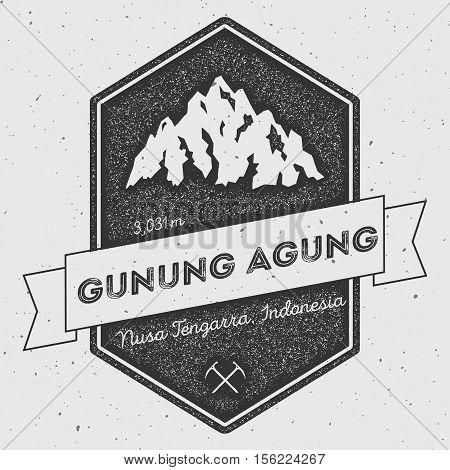 Gunung Agung In Nusa Tengarra, Indonesia Outdoor Adventure Logo. Pennant Expedition Vector Insignia.