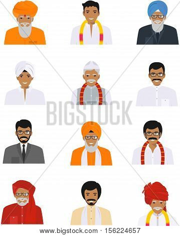 Detailed illustration of different indian old and young men avatars icons set in the traditional national hindu clothing isolated on white background in flat style.