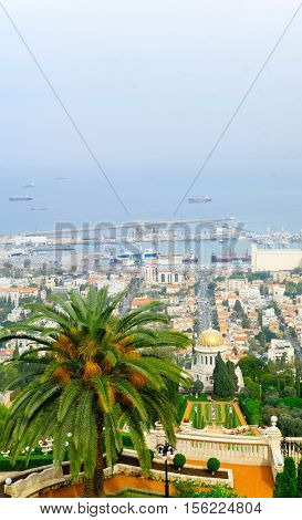 View of the Bahai Gardens the German Colony and the harbor in Haifa Israel