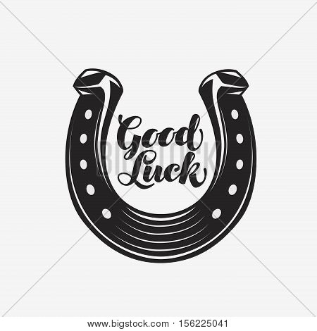 Good luck. Horseshoe with inscription. Vector symbol icon