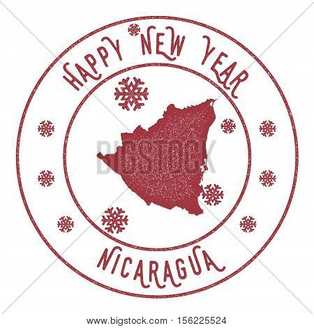 Retro Happy New Year Nicaragua Stamp. Stylised Rubber Stamp With County Map And Happy New Year Text,