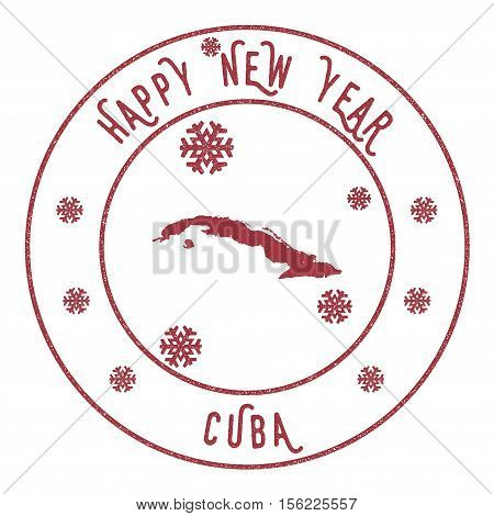 Retro Happy New Year Cuba Stamp. Stylised Rubber Stamp With County Map And Happy New Year Text, Vect