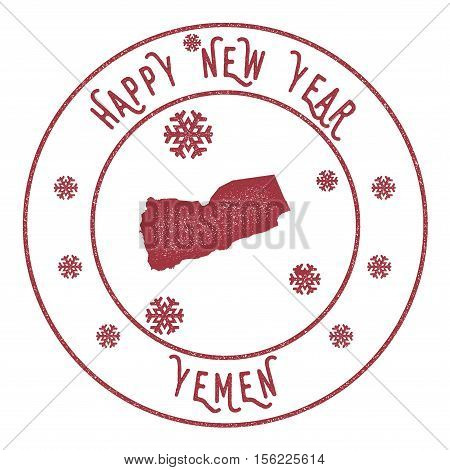 Retro Happy New Year Yemen Stamp. Stylised Rubber Stamp With County Map And Happy New Year Text, Vec
