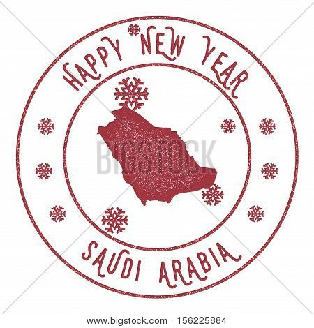 Retro Happy New Year Saudi Arabia Stamp. Stylised Rubber Stamp With County Map And Happy New Year Te