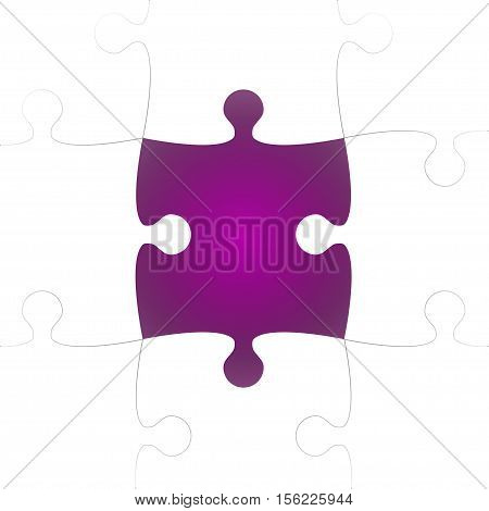 Vector Background made from White Puzzle Pieces with One Purple Missing. Piece Flat Puzzle Infographic Presentation. Step Circle Business. One Section Compare Service Banner.