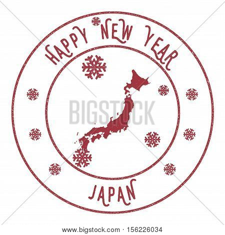 Retro Happy New Year Japan Stamp. Stylised Rubber Stamp With County Map And Happy New Year Text, Vec