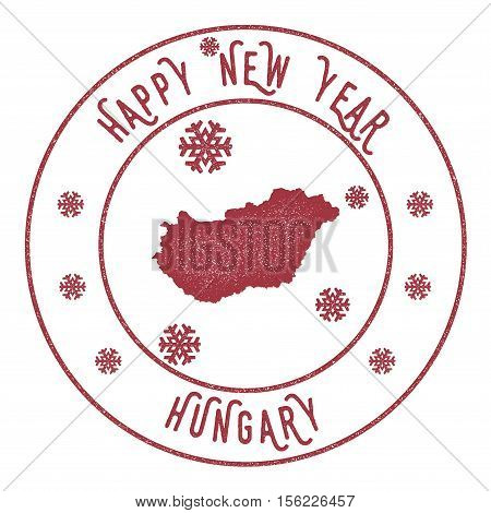 Retro Happy New Year Hungary Stamp. Stylised Rubber Stamp With County Map And Happy New Year Text, V