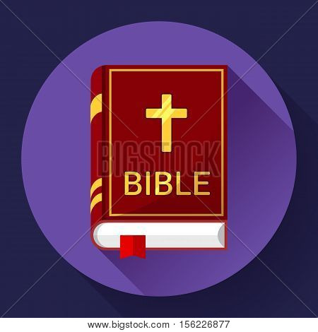 Holy Book icon bible icon flat with long shadow