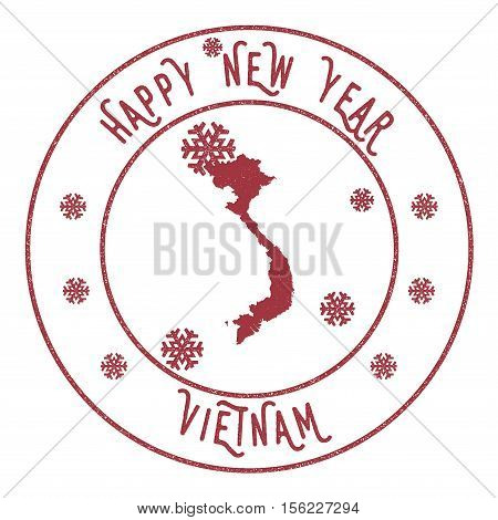 Retro Happy New Year Vietnam Stamp. Stylised Rubber Stamp With County Map And Happy New Year Text, V