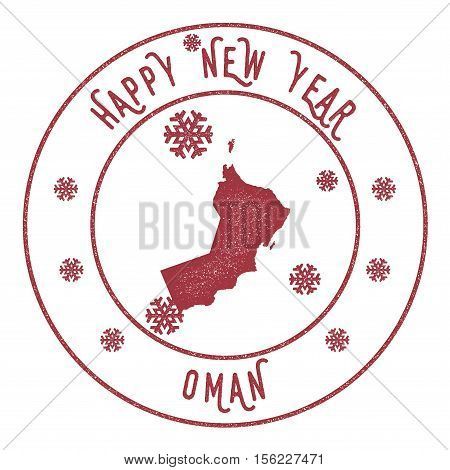Retro Happy New Year Oman Stamp. Stylised Rubber Stamp With County Map And Happy New Year Text, Vect