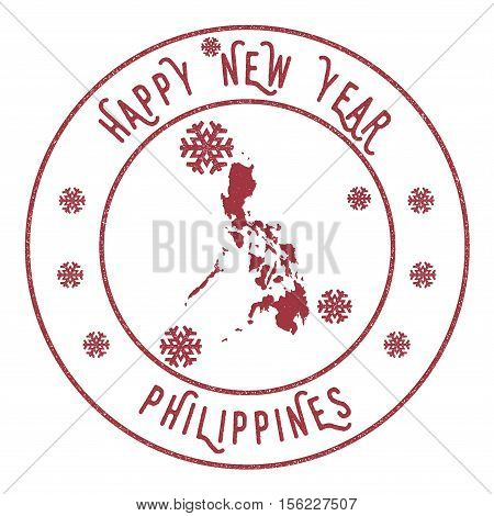 Retro Happy New Year Philippines Stamp. Stylised Rubber Stamp With County Map And Happy New Year Tex