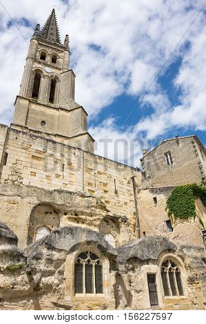 The belltower of the monolithic church in Saint-Emilion France