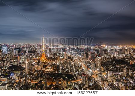 Night View Of Tokyo In Japan Cityscape Tokyo Tower