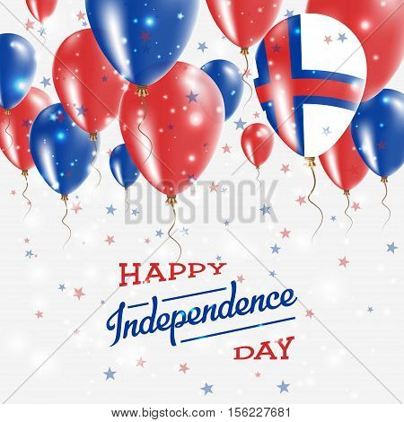Faroe Islands Vector Patriotic Poster. Independence Day Placard With Bright Colorful Balloons Of Cou