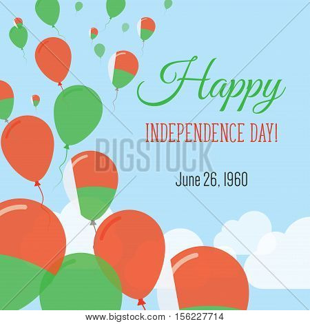 Independence Day Flat Greeting Card. Madagascar Independence Day. Malagasy Flag Balloons Patriotic P