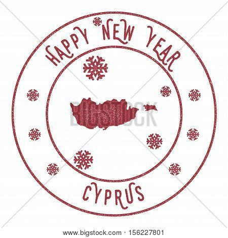 Retro Happy New Year Cyprus Stamp. Stylised Rubber Stamp With County Map And Happy New Year Text, Ve