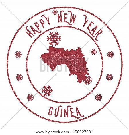 Retro Happy New Year Guinea Stamp. Stylised Rubber Stamp With County Map And Happy New Year Text, Ve