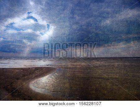 Textured Grunge Image Of Sea Bay