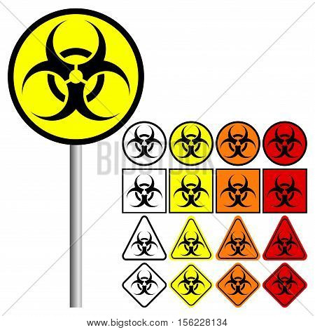 Biological Hazard Symbol Icon with colors: red, orange, yellow and black
