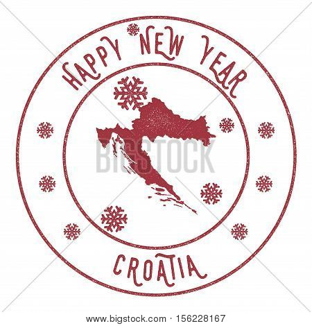 Retro Happy New Year Croatia Stamp. Stylised Rubber Stamp With County Map And Happy New Year Text, V