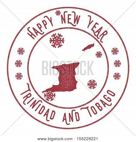 Retro Happy New Year Trinidad And Tobago Stamp. Stylised Rubber Stamp With County Map And Happy New