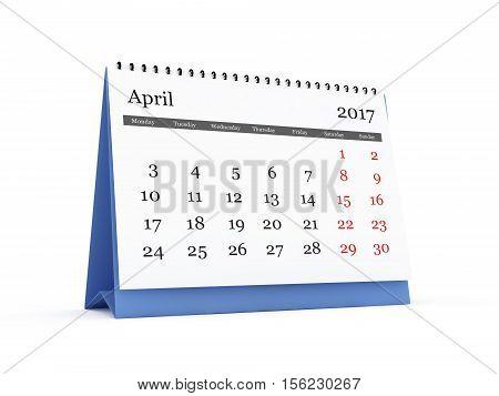 Desk Calendar 2017 April
