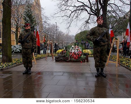 An honor guard. Lodz, Poland November 11, 2016 The soldiers on guard of honor at the Tomb of the Unknown Soldier on Independence Day Polish Lodz.