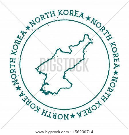 Korea, Democratic People's Republic Of Vector Map.. Retro Vintage Insignia With Country Map.. Distre
