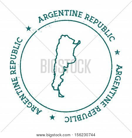 Argentina Vector Map. Retro Vintage Insignia With Country Map. Distressed Visa Stamp With Argentina