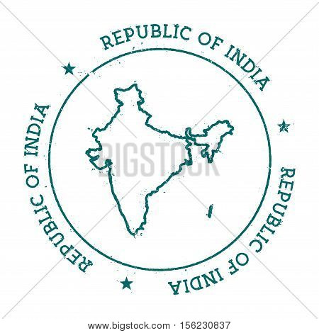 India Vector Map. Retro Vintage Insignia With Country Map. Distressed Visa Stamp With India Text Wra