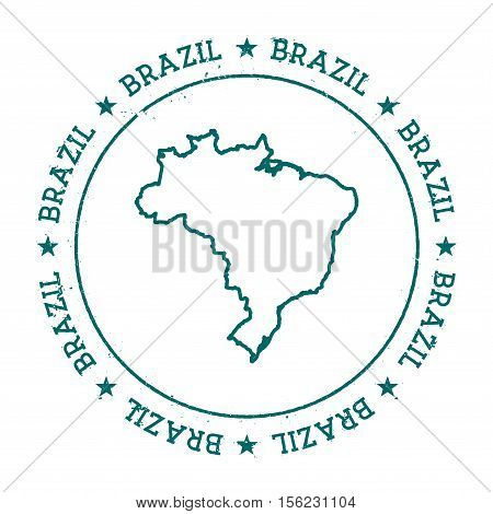 Brazil Vector Map. Retro Vintage Insignia With Country Map. Distressed Visa Stamp With Brazil Text W