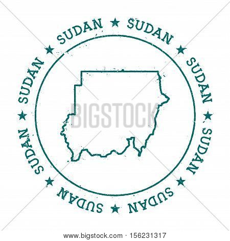 Sudan Vector Map. Retro Vintage Insignia With Country Map. Distressed Visa Stamp With Sudan Text Wra