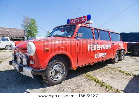GRIMMEN / GERMANY - MAY 5 2016: german special trabant version feuerwehr ( fire service) stands on oldtimer show in grimmen / germany at may 5 2016.