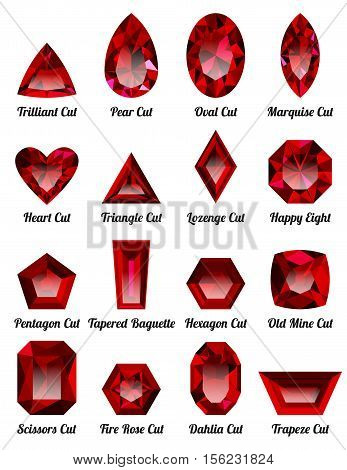 Set of realistic red rubies with complex cuts isolated on white background. Jewel and jewelry. Colorful gems and gemstones. Trilliant pear oval marquise heart triangle lozenge happy eight.