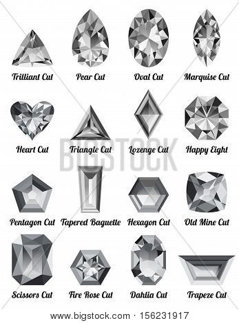 Set of realistic white diamonds with complex cuts cuts isolated on white background. Jewel and jewelry. Colorful gems and gemstones. Trilliant pear oval marquise heart triangle lozenge