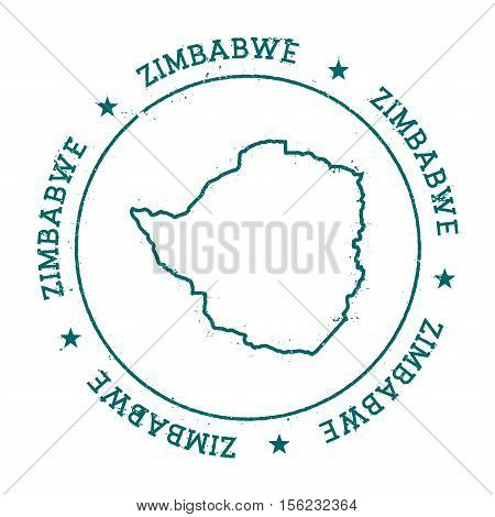 Zimbabwe Vector Map. Retro Vintage Insignia With Country Map. Distressed Visa Stamp With Zimbabwe Te