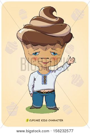 Funny vector illustration of a hand drawn cartoon character kid stylized sweet cupcake. Emotional states confectionery caramel and bakery food