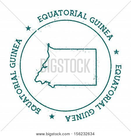 Equatorial Guinea Vector Map. Retro Vintage Insignia With Country Map. Distressed Visa Stamp With Eq