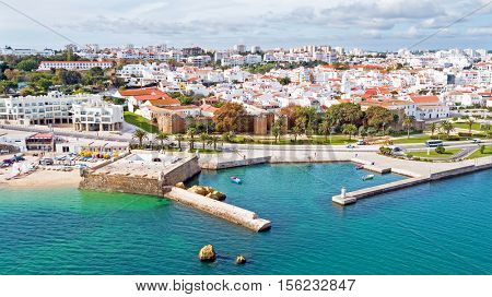 Aerial from the city Lagos with the Forte da Bandeira in Portugal