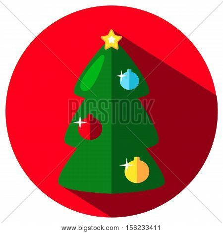 Green fir tree vector icon with colorful ornaments. Christmas or New Year stamp or logo with fir tree. Ornament fir tree icon on round background. Flat style Christmas icon. Winter holiday image