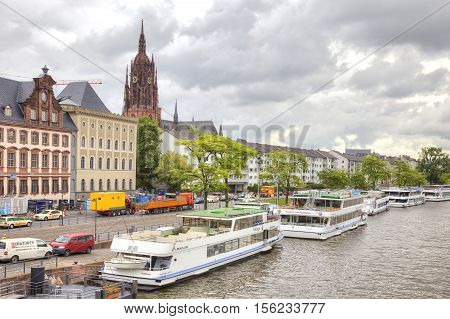 FRANKFURT AM MAIN GERMANY - May 07.2014: City landscape. Main river embankment