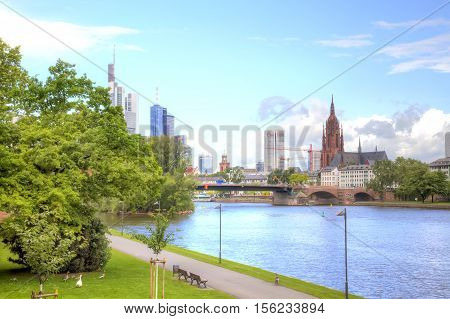FRANKFURT AM MAIN GERMANY - May 07.2014: City landscape. Main river embankment and bridge