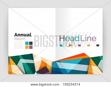 Triangles and lines, annual report flyer brochure template. Vector illustration