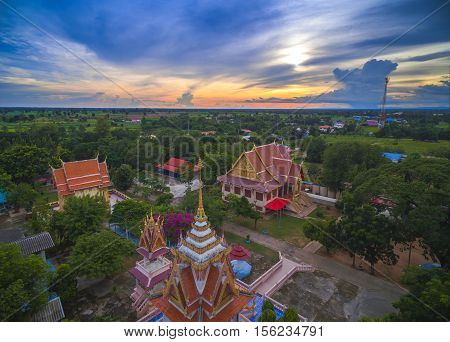 Wat Thai, Sunset In Temple Thailand,they Are Public Domain Or Treasure Of Buddhism, No Restrict In C