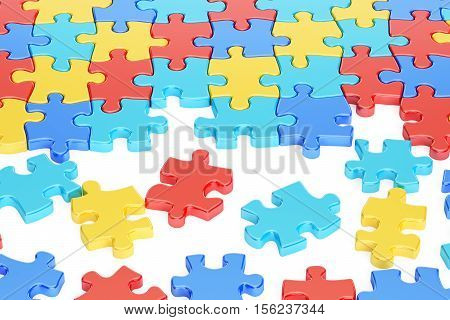 Puzzle Pieces in Autism Awareness Colors 3D rendering isolated on white background