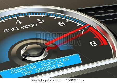 tachometer closeup 3D rendering on black background