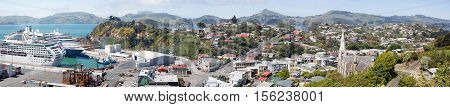 The panoramic view of Port Chalmers little suburb district of Dunedin city (New Zealand).