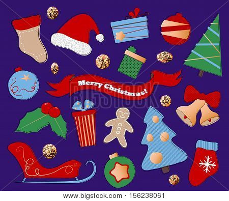 Winter holidays clipart on purple background. Christmas or New Year icons in flat style. Red blue and green Christmas symbols. Santa Claus hat and sleigh. Fir tree ornament and holly. Christmas decor