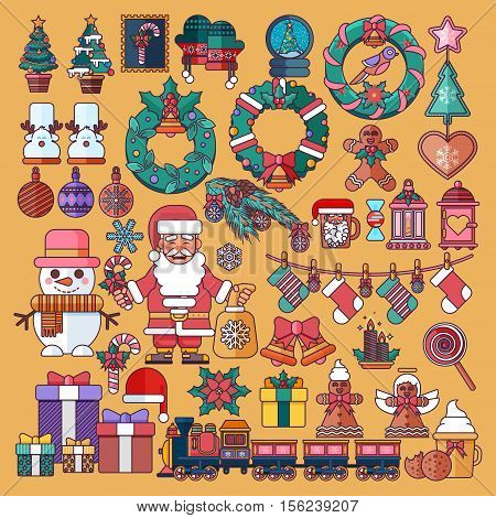 Stock vector illustrations set Christmas accessories in a linear cartoon style design elements for decoration backgrounds, printed materials, web sites, cards, covers, wallpaper